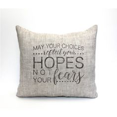 Hope Pillow Throw Pillow Housewarming Gift Guest Room Decor Christmas... ($37) ❤ liked on Polyvore featuring home, home decor, holiday decorations, decorative pillows, home & living, home décor, silver and black home decor