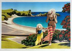 """Check out Tony Ogle """"To the Lookout"""" at New Zealand Fine Prints Nz Art, Art For Art Sake, New Zealand Art, Kiwiana, Surf Art, Bird Pictures, Beach Art, Online Art, Cool Art"""