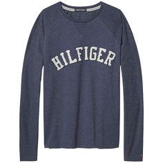 Schönes Loungewear-Basic: Sammee Langarmshirt mit Rundhalsausschnitt und Hilfiger Print auf der Vorderseite. Das Logostitching befindet sich am Ärmel.50% Baumwolle, 50% Polyester...