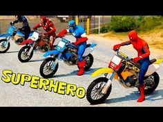 Superheroes with Spiderman & Joker Motorbikes Cars and Trucks for Kids Nursery  Rhymes Children