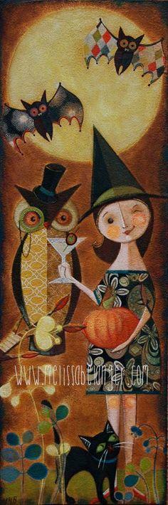 """Night Owls"" mixed media acrylic painting 12""x36"" by Melissa Belanger www.melissabelanger.com"