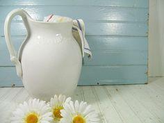 Broken White Pottery Pitcher - Vintage Rain Bow Ceramic OverSized Wash Stand Water Jug - Shabby Chic Extra Large Fresh Flowers Garden Vase $36.00
