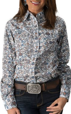 Wired Heart Women's White with Blue and Brown Paisley Long Sleeve Western Shirt
