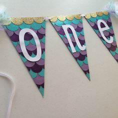 ONE mermaid inspired high chair banner! It's sparkly and sooo pretty! $20