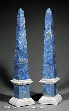 A Pair of Neoclassical-Style Lapis Lazuli and White Marble Obelisks, of typical form, molded base, height 22 1/2 in., width 4 1/2 in., depth 4 1/2 in.