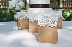 Brown Paper Gift Bags with Doilies and Ribbon. Nice for Shower or Wedding Favors. So simple, but awesome! Diy Wedding, Wedding Favors, Party Favors, Wedding Decorations, Wedding Gifts, Wedding Ideas, Trendy Wedding, Favours, Shower Favors