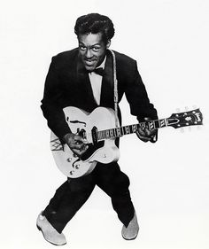 Chuck Berry (born Charles Berry), American guitarist, singer & songwriter, and one of the pioneers of Rock n' Roll music. With songs such as Maybellene, Roll Over Beethoven, Rock and Roll Music and Johnny B. Goode, he refined & developed rhythm and blues into the major elements that made rock and roll distinctive, with lyrics focusing on teen life & consumerism, and utilizing guitar solos and showmanship that would be a major influence on subsequent rock music.