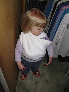 Baby wearing for Toddlers Helping new big sisters and brothers adjust to the new baby -- for the home life corner.