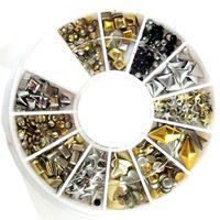 120pcs Oro / Plata metal del clavo de la decoración del arte herramientas Rhinestones Consejos metálicos tachona etiqueta