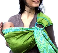 Green Apple Paisley Baby Sling.
