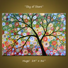 Amy Giacomelli Painting Large Abstract Painting Modern Landscape Tree .. red yellow blue green black ... 24 x 36 .. Sky of Stars. $270.00, via Etsy.