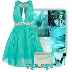 """Tirquoise Prom Dress"" by snigi on Polyvore"