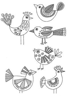 These are cute little birds I could try and draw and add to my journal pages (TH)