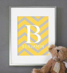 Chevron Baby Nursery Art Monogram Print 8x10 Nursery or Kids Room Wall Decor - Shown in Yellow & Gray. $16.00, via Etsy.
