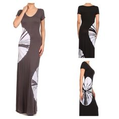 "BOGO 1/2 OFF!CHARCOAL TIE-DYE  MAXI DRESS ❗️PLEASE DON'T PURCHASE THIS LISTING❗️Brand new full length tie-dye maxi dress in charcoal...I love this dress! I'm 5'10"" and the Large almost hits the floor! The length on all sizes is fantastic! The large tie-dye circles are in just the right place to accentuate your figure...scoop neck with short sleeves..95% Rayon 5% Spandex. Brand NewNo TradesComment which size you would like for a personalized listingPRICE FIRM UNLESS BUNDLED❗️Large is sold out…"