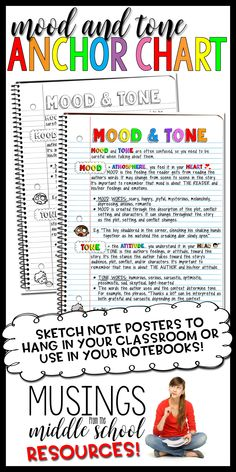These beautiful Mood & Tone jpegs can be printed on a standard printer, enlarged to poster size, or glued into a student's notebook. Available in both color and black & white. Plot Anchor Chart, Anchor Charts, 6th Grade English, Mood Words, College Notes, Middle School Reading, Curriculum Planning, Mood And Tone, Teaching Language Arts