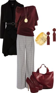 Work outfit. Loving burgundy for autumn find more women fashion ideas on www.misspool.com