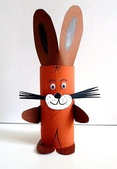 / tinker Easter Bunny toilet roll - Basteln Kinder /Schule - crafts home Easter Activities, Easter Crafts For Kids, Diy For Kids, Toilet Roll Craft, Toilet Paper Roll Crafts, Christmas Toilet Paper, Leaf Crafts, Animal Crafts, Recycled Crafts