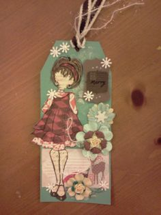 Tag created with Julie Nutting doll stamp by Prima - Carla Bange