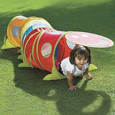 "Wiggle Tunnel: Designed by OSA!  More wiggles and extra giggles—its the play tunnel with personality! Our irresistible pop-up kids tunnel has a happy face door that inspires kids to crawl in, out, and around. 78 3/4""L, with mesh, peek-a-boo windows. Set up intriguing zigzag configurations! Even more fun: it connects to our ball pit and pop-up plays tents!..."