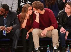 Violetta Komyshan, Ansel Elgort & Timothée Chalamet from The Big Picture: Today's Hot Photos The cute couple couldn't take their eyes off each other at the Knicks game, as they were joined by the Call Me By Your Name actor. Cute Celebrity Couples, Hot Couples, Cute Couples Goals, Couple Goals, Ansel And Violetta, Ansel Elgort And Violetta Komyshan, Ansel Elgort Girlfriend, Beautiful Girlfriend, Boyfriend Goals