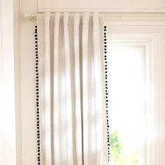 Draperies, Curtains And Drapes & Window Decor   PBteen Pom pons add a touch of style to these reasonably priced, black-out panels. Who cares what department they're from/ A window is the same size in any room and this is good value.