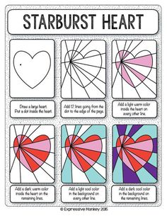 Make this Op Art Heart with step-by-step instructions.  Finish with marker or your choice of media.  Send some Heart Art for Valentines.: