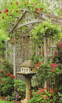tiny fairy house in a birdbath under an arbor ~ perfection!