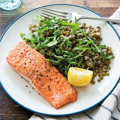 Seared Salmon and Lentils with Arugula
