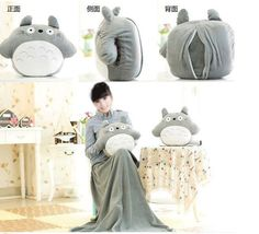 Round Totoro doll pillow 33 * 38cm, blanket 95 * 75cm Baby  blanket cute plush toys Christmas gift Adult Cushion-in Stuffed & Plush Animals from Toys & Hobbies on Aliexpress.com | Alibaba Group