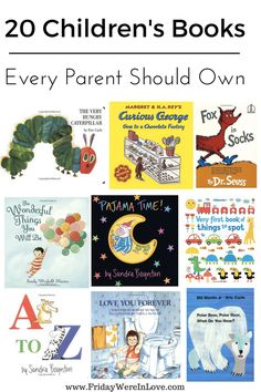 20 books every parent should have in their library- perfect for new moms/new parents, and a great list for baby shower gifts! These are books babies enjoy that grow with them into childhood and help with different learning and development skills. Baby Book To Read, Best Baby Book, Board Books For Babies, Toddler Books, Childrens Books, Kid Books, Baby Toys, Baby Play, Presents For Kids