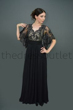 aaf986c2cf33 Short Sleeve Long Mother of the Bride Plus Size Formal Dress - The Dress  Outlet - 1
