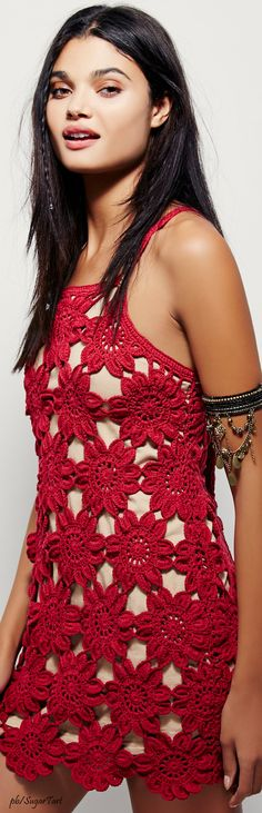 Red Crochet Mini • Daniela Braga For Free People • ≫∙∙☮ Bohème Babe ☮∙∙≪• ❤️ Babz™ ✿ιиѕριяαтισи❀ #abbigliamento #bohojewelry #boho