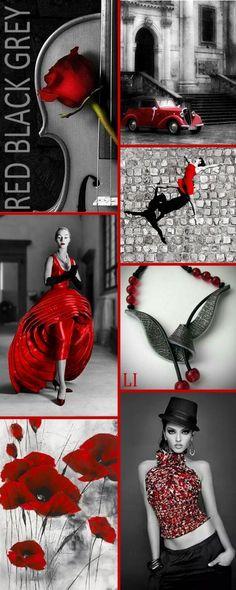 Red, Black & Grey by Lu's Inspiration ღ Colour Pallette, Colour Schemes, Color Trends, Color Patterns, Living Colors, Mood Colors, Color Collage, Color Balance, Colour Board