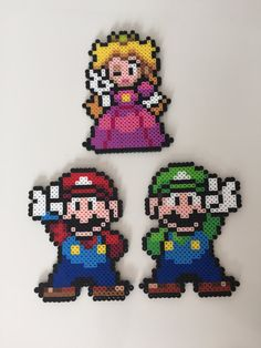 Mario Luigi or Princess Peach Perler Bead by PixelPrecious on Etsy
