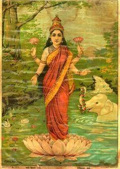 The Best Tile Raja Ravi Varma Subject Lakshami Slight Embossed Image Porcelain Vintage Antiques