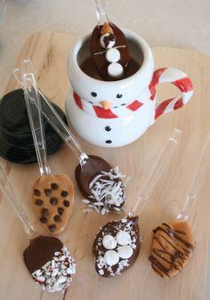 Hot chocolate stirrers. How cute! Jeannie Isaacs **  www.SimpleEasyFondue.Velata.us ** SimpleEasyFondue@gmail.com