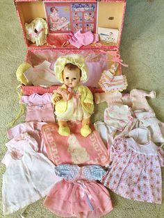 """Vintage Effanbee 15"""" Dy Dee Baby Doll 43 pc Layette Dress Bonnet Trunk bottle #Effanbee #DollswithClothingAccessories"""
