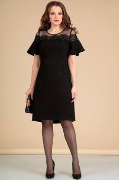 Платье Мишель стиль, черный (модель 670) — Белорусский трикотаж в интернет-магазине «Швейная традиция» Fiesta Outfit, Frock For Women, Maxi Gowns, Dress Sewing Patterns, Hot Dress, Mom Outfits, Dress And Heels, Blouses For Women, Fashion Dresses