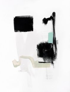 Print of Abstract Black and White Painting - Let Go