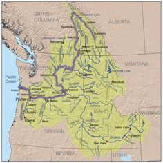Columbia River Watershed - Simple.  From Wikipedia