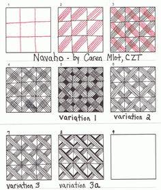 Navaho by Caren Mlot, CZT (Certified Zentangle Teacher) ~  Tangle Mania: Patterns Patterns Everywhere