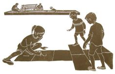"""The remarkable element about """"Hopscotch"""", a linocut printed in 1995, is the portrayal of the environment around the kids playing hopscotch. In the background you can see a nearby sandbox, with other kids playing."""