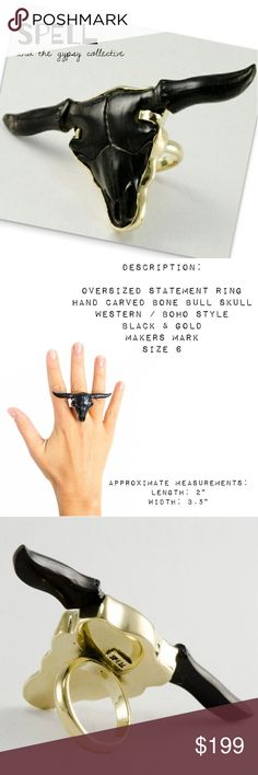"ṧ℘ḙℓℓ  ÷÷÷  ᴴᴬᴺᴰ ᶜᴬᴿᵛᴱᴰ ᴮᴼᴺᴱ вυℓℓ яιиg SPELL & the gypsy collective * Oversized Statement Ring * Size 6 * Hand Carved Bone & Gold Plated Brass * Black Bull Skull * Western / Boho Inspired * SPELL Maker's Mark * Approximate: 3.5"" x 2"" * BRAND NEW - GIFT READY  Festival * Jewelry * Cow * Cattle * Native * Collector * Handmade * Spell & The Gypsy Collective Jewelry Rings"