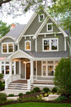 Pewter Exterior paint w/ white trim--this is seriously the color scheme I have thought for a long time that I want to use on my future house....