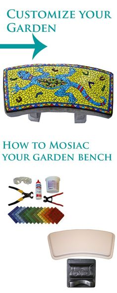 Concrete bench mold, how to mosaic, mosaic, DIY, make your own bench, garden bench, customize bench