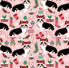 © Pet Friendly - Corgi christmas fabric.  Best dog christmas fabrics for trendy decor, sewing projects, and home textiles. Corgi owners will love this christmas tricolored corgis fabric.