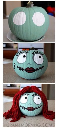 No Carve/Painted Pumpkin Ideas for Kids - Crafty Morning Sally Skellington No-Carve Pumpkin for Halloween (Nightmare Before Christmas)Sally Skellington No-Carve Pumpkin for Halloween (Nightmare Before Christmas) Theme Halloween, Holidays Halloween, Halloween Treats, Happy Halloween, Halloween Party, Halloween Witches, Halloween Halloween, Disney Halloween Decorations, Halloween Bedroom