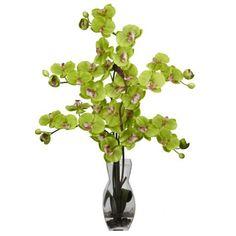 Green Phalaenopsis w/Vase Silk Flower Arrangement