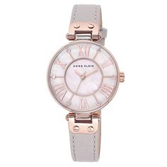 GBP 64,99 Anne Klein Ladies' Mother Of Pearl Grey Leather Strap Watch - Product number 3690660